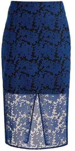 Diane von Furstenberg Geometric Embroidered Tulle Pencil Skirt - Womens - Blue