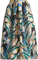 Rochas Tulip-print duchess-satin midi skirt