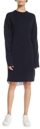 Tibi Crewneck Merino Wool Sweaterdress with Men's Shirt Combo
