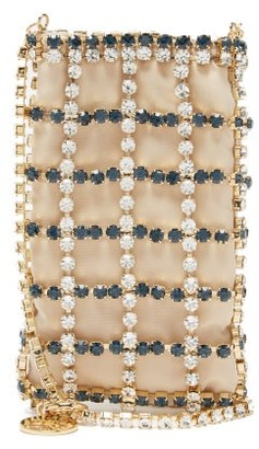 Rosantica Greta Crystal And Satin Cross-body Pouch - Beige Multi