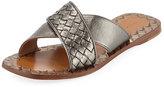 Bottega Veneta Metallic Intrecciato Crisscross Flat Slide Sandal