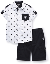 Beverly Hills Polo Club White Star Button-Up & Black Shorts - Infant & Boys