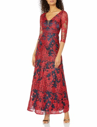 JS Collections Women's 3/4 Sleeve Deep V Lace Gown