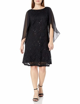 Tiana B T I A N A B. Women's Plus Size Seqence Lace A-line with Tulip Sheer Sleeve