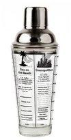 Kikkerland 16 oz Glass Stainless Steel Recipe Cocktail Shaker, Transparent