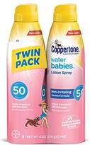 Coppertone WaterBabies Sunscreen Quick Cover Lotion Spray Broad Spectrum SPF 50 (6-Ounce per Bottle, Pack of 2)
