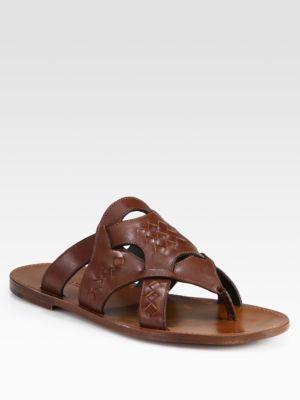 Bottega Veneta Woven Leather Thong Sandals
