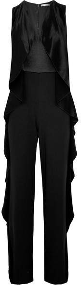 Alice + Olivia Alice Olivia - Sarandon Ruffle-trimmed Satin And Crepe Jumpsuit - Black