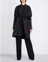 Rick Owens Sail leather-sleeve woven coat