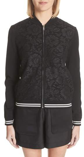 Valentino Lace Front Bomber Jacket