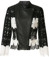 Yigal Azrouel Mod lace & leather jacket - women - Leather/Polyester - 8