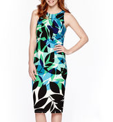 London Times London Style Collection Sleeveless Leaf Print Midi Sheath Dress