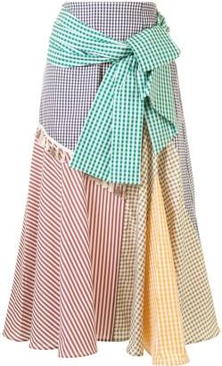 Silvia Tcherassi Gingham Colour-Block Skirt