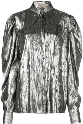 Michael Kors Puff Sleeve Metallic Shirt