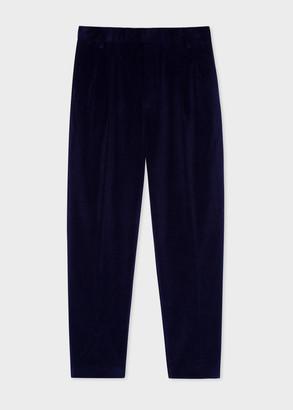 Men's Navy Corduroy Pleated Trousers