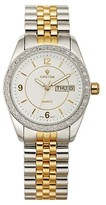 Croton Women's Two Tone Watch with Crystal Bezel