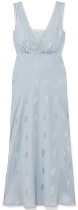 LoveShackFancy Coletta Lace-trimmed Silk-satin Jacquard Midi Dress