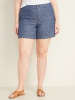 Old Navy Mid-Rise Plus-Size Everyday Linen-Blend Shorts – 7-inch inseam
