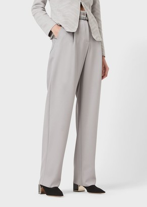 Giorgio Armani Darted Trousers With Leather Belt