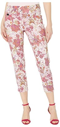 Lisette L Montreal Sanibel Floral Print Pull-On Thinny Crop Pants (Spiced Coral) Women's Casual Pants