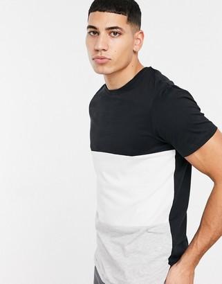 Jack and Jones Originals colorblock t-shirt in black