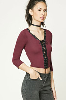 Forever 21 FOREVER 21+ Lace-Up Grommet Crop Top
