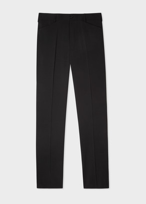 Men's Black Wool-Mohair Trousers