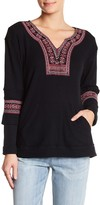 Democracy Embroidered Waffle Knit Blouse