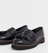 Asos Design DESIGN Wide Fit Maxfield leather fringed loafers