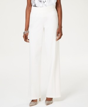 INC International Concepts Inc Wide-Leg Crepe Side Zip High Waist Pants, Created for Macy's