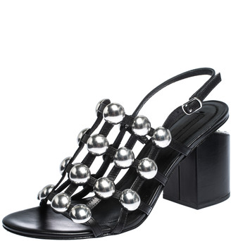 Alexander Wang Black Leather Dome Studded Nadia Sandals Size 39.5