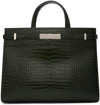 Saint Laurent Green Croc Small Manhattan Bag