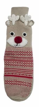 RJM Ladies Christmas Reindeer Rudolph Non-Slip Slipper Socks S/M
