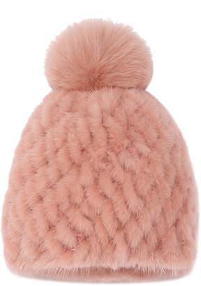Pologeorgis Knitted Mink Beanie With Fox Pom
