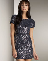 Sequined Shift Dress, Navy/Silver