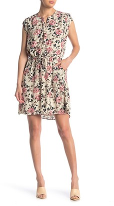 Dr2 By Daniel Rainn Printed Cap Sleeve Button Front Dress