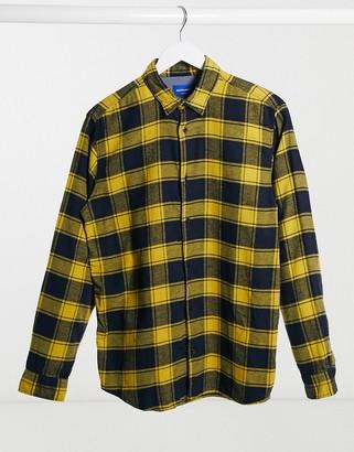 Jack and Jones Originals brushed buffalo plaid shirt in navy and yellow