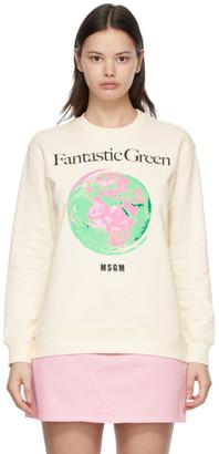 MSGM White Fantastic Green Sweatshirt