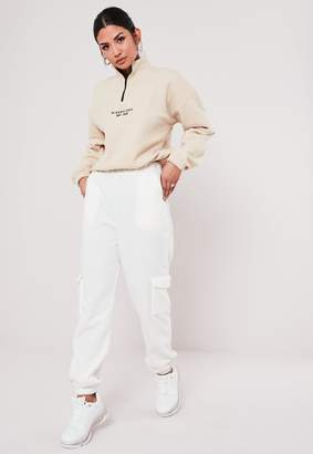 Missguided Ivory Fleece Joggers
