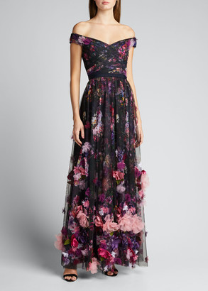Marchesa Off-the-Shoulder Printed Tulle Gown with 3D Flowers