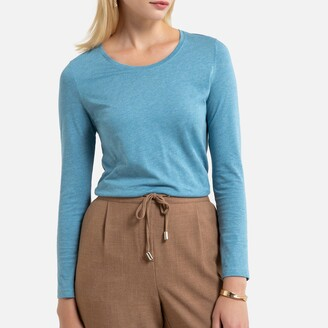 Anne Weyburn Plain Cotton Mix T-Shirt with Long Sleeves and Crew-Neck