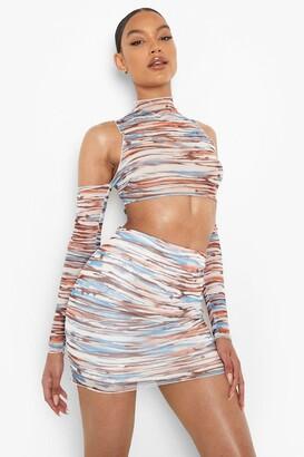 boohoo Abstract Mesh Cut Out Crop & Mini Skirt