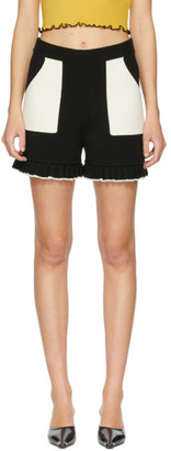 Victor Glemaud Black and Off-White Knit Shorts