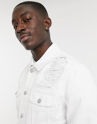 ASOS DESIGN denim jacket with extreme rips in white