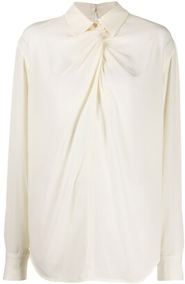 Victoria Beckham Twist Neck Silk Blouse