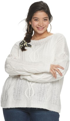 Juniors' Plus Size SO Boatneck Cable Front Pullover Sweater