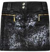 Just Cavalli Metallic Printed Denim Mini Skirt