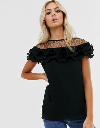 New Look lace detail pleated blouse in black