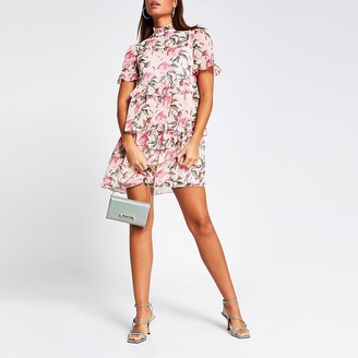 River Island Pink floral print ruffle mini smock dress