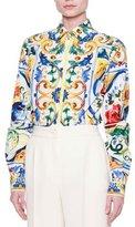 Dolce & Gabbana Maiolica Tile-Print Classic Shirt, White/Blue/Yellow